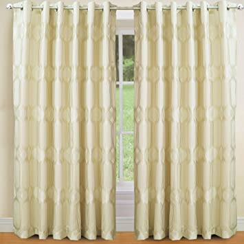 Heavy Art DECO Nouveau CURTAINS Lined EYELET Ring CREAM GOLD IVORY Extra WIDE Size90x90quot