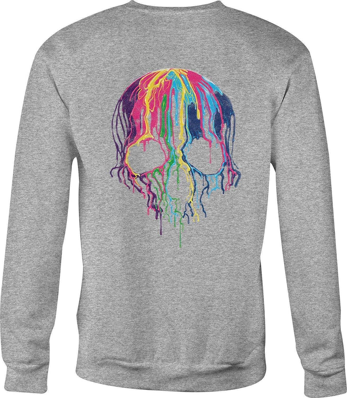 Hoody Motorcycle Crewneck Sweatshirt Melting Skull Bright Colors Paint Dripping