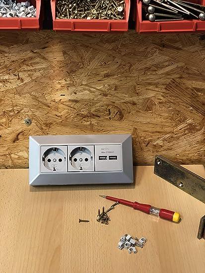 Bloque de enchufes esquinero I 45 ° ángulo con protección infantil I 230 V construcción & esquina de montaje para encimera cocina taller I Plata, ...