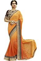 SareeShop Women's Clothing Ethnic Wedding And Party Wear Heavy Handwork Designer Half N half Saree Collection in Multi-Colored Georgette Material For Women Party Wear With Blouse Piece (S1104)