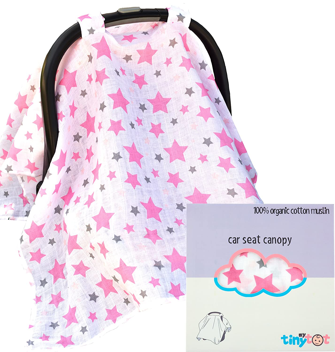 Car Seat Cover - 100% Organic Cotton - Canopy Style Cover Easily Attaches to Any Car Seat to Protect Baby From Sun or Wind, Made of Highest Quality Breathable Fabric, Cute Design for Girls My Tiny Tot