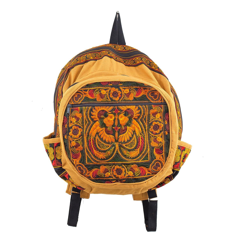 Changnoi Boho Book Bag Ethnic Style Hmong Embroidered in Orange Birds