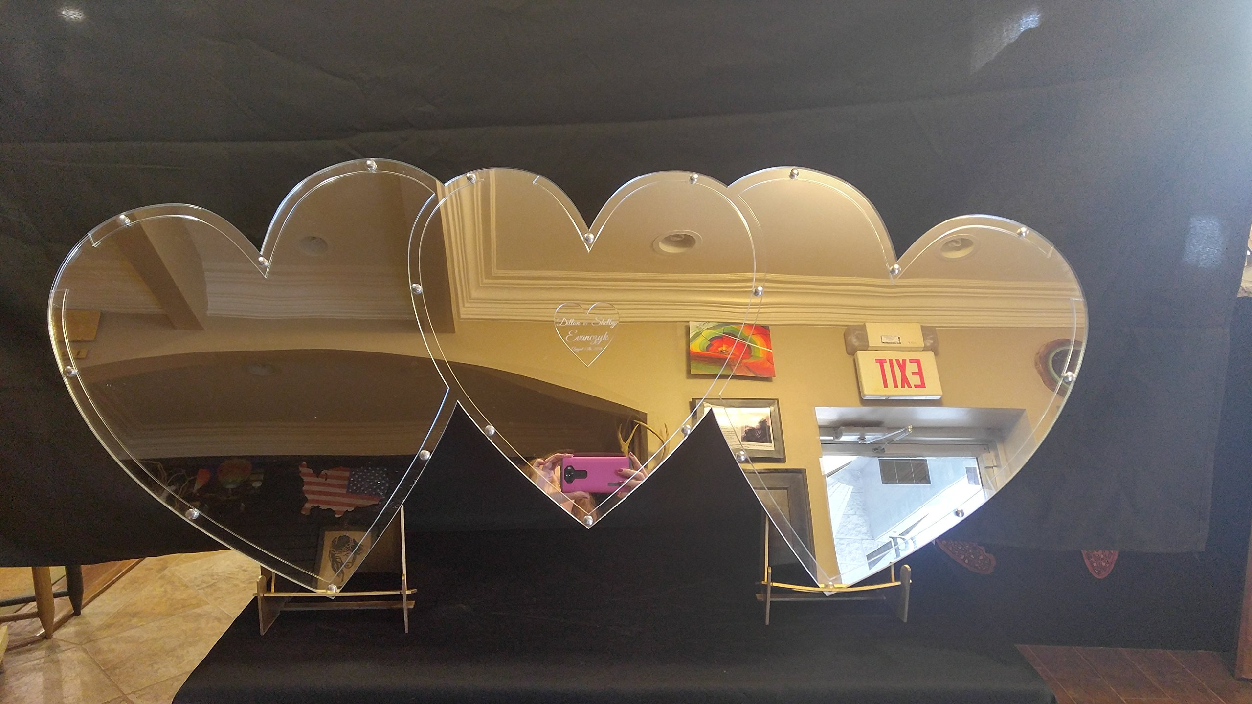 Mirrored Triple Heart Drop Alternative Wedding Guest Book Shadow Box with 1.5'' Heart Charms