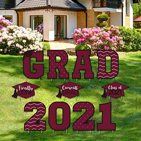 Tatuo 11 Pieces Graduation Yard Sign Decorations Congrats Graduation Lawn Signs 2021 Grad Yard Signs with 23 Stakes for Outdoor Congrats Graduation Party Decoration Supplies (Maroon)