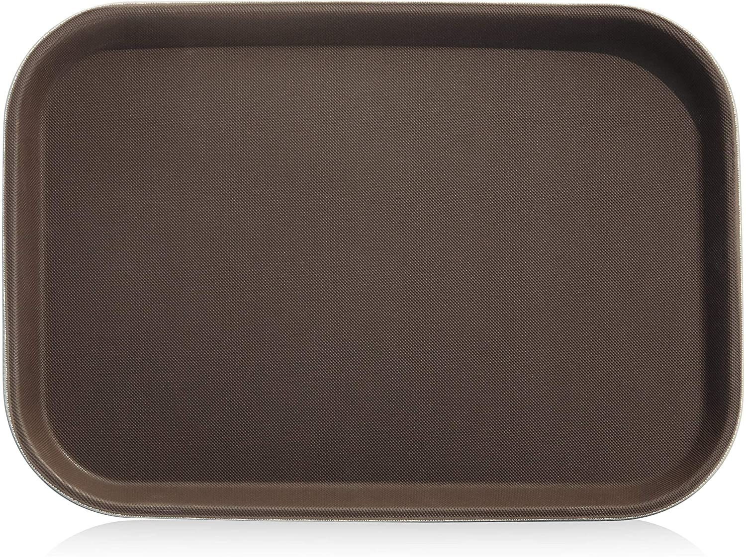 New Star Foodservice 24883 Non-Slip Tray, Plastic, Rubber Lined, Rectangular, 10 by 14-Inch, Brown