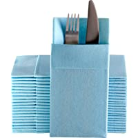 Baby Blue Dinner Napkins Cloth Like with Built-in Flatware Pocket, Linen-Feel Absorbent Disposable Paper Hand Napkins…