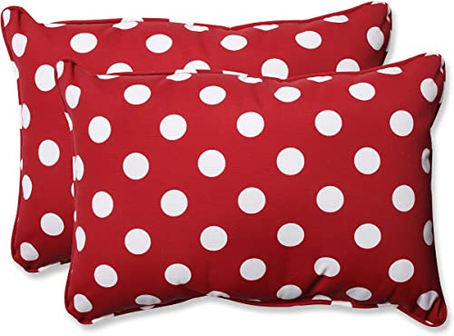 Pillow Perfect Decorative Polka Dot Toss Pillow, Rectangle, Red White