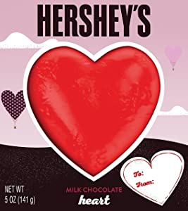HERSHEY'S Heart Shaped Chocolate, Solid Milk Chocolate Candy n Valentine's Day Packaging, 5 Ounce Box