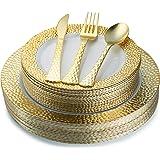Juego de 100 platos de plástico desechables de oro y cubiertos de plástico pesado para colocar   Servicio para 20 invitados i
