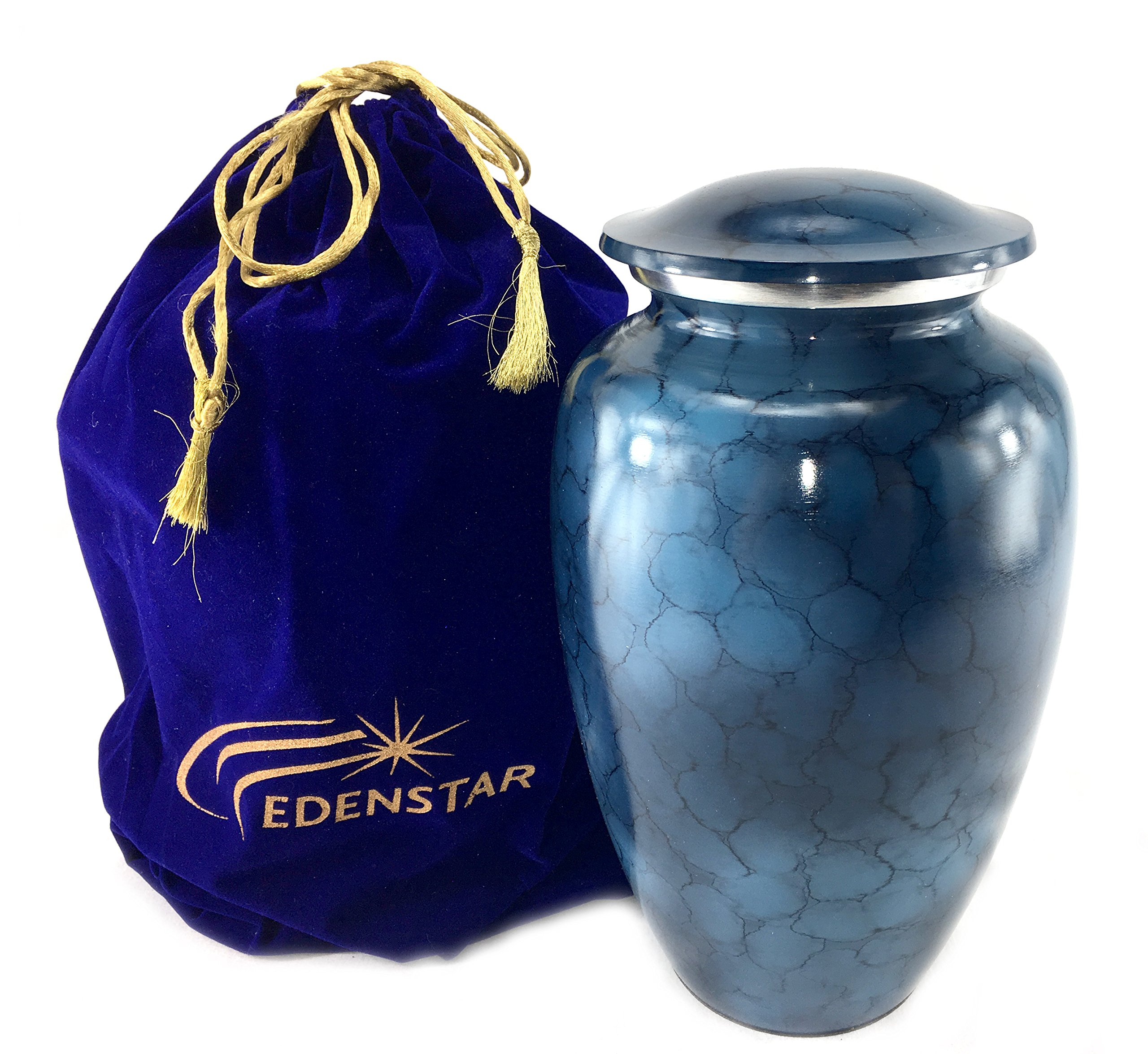EDENSTAR NEXTG Premium Quality Classic Cremation Urn with Unique Design - Adult Funeral Memorial Urn for Human Ashes Handmade Solid Vase Handcrafted Perfection Engraved