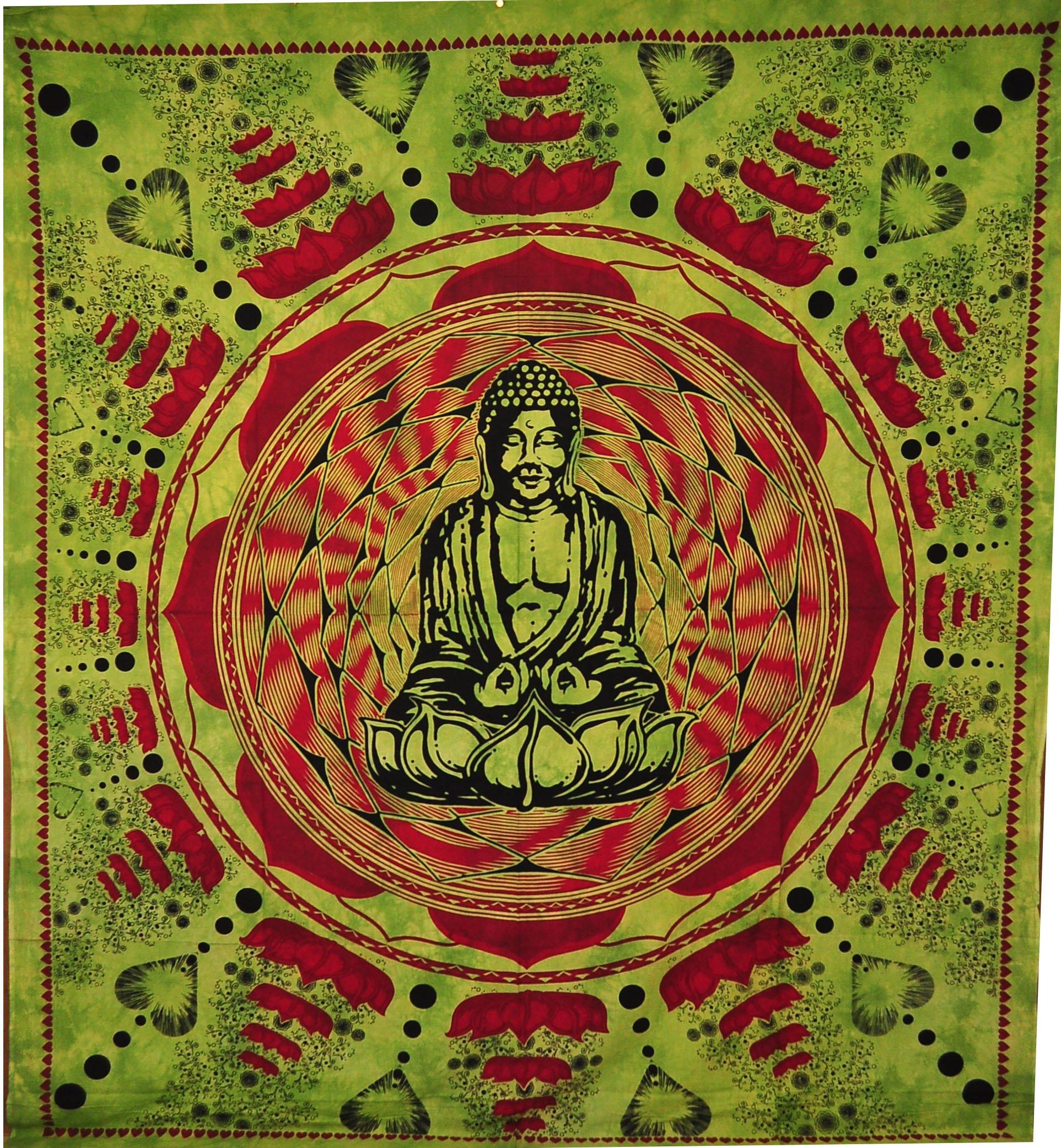 96 x 80 BEDSPREAD COVERLET WALL HANGING TAPESTRY Buddha mandala Hippy India Decor