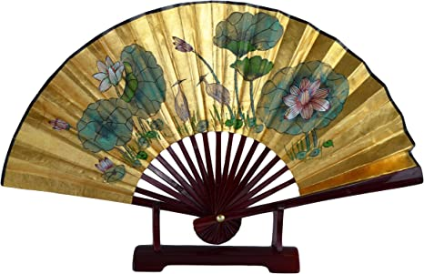 Vintage fan hand painted Asian hand fan gold detailing folding watercolor peony lake mountains butterfly leaf flower birds Christmas gift