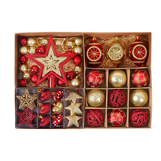 Valery Madelyn 70 Pcs 30 100mm Luxury Red Gold Shatterproof Christmas Baubles Tree Ball Decorations