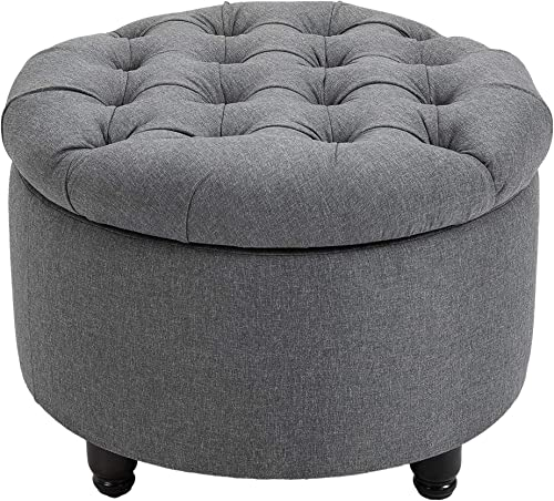 HOMCOM Round Linen-Touch Fabric Storage Stool Ottoman Button Tufted Footrest