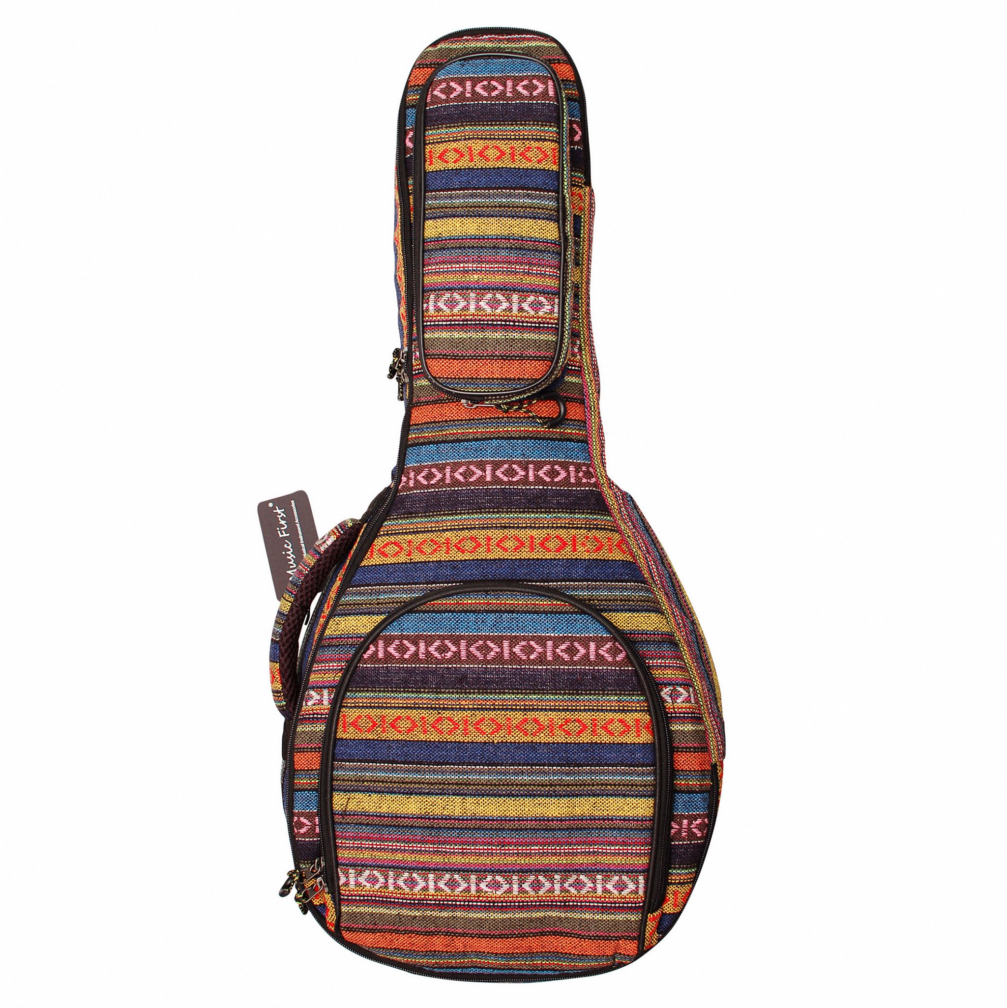 MUSIC FIRST Original Design 15mm Thick Padded Cotton Country Style A & F Style (Standard) Mandolin Gig Bag (Soft Case) Soft Mandolin Case Fits for Most of A Mandolin by MUSIC FIRST