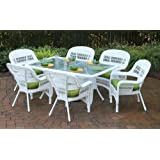 Tortuga Outdoor PSD-66-WH HALIW 7 Piece Portside Dining Set with Coastal White Wicker & Haliwell Caribbean Cushions