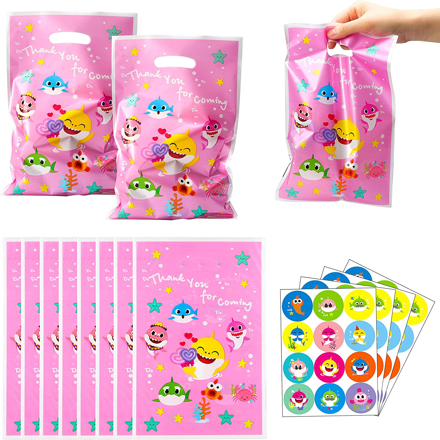 Ticiaga Cartoon Shark Party Favors, 50pcs Pink Little Shark Plastic Bag with 4pcs Shark Stickers, Goodies Candy Treat Bags for Kids, Cute Shark Theme Birthday Party Supplies, Birthday Decoration Bags