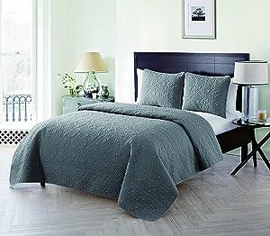VCNY Home Caroline Embossed Floral 3 Piece Quilt Set, King, Grey
