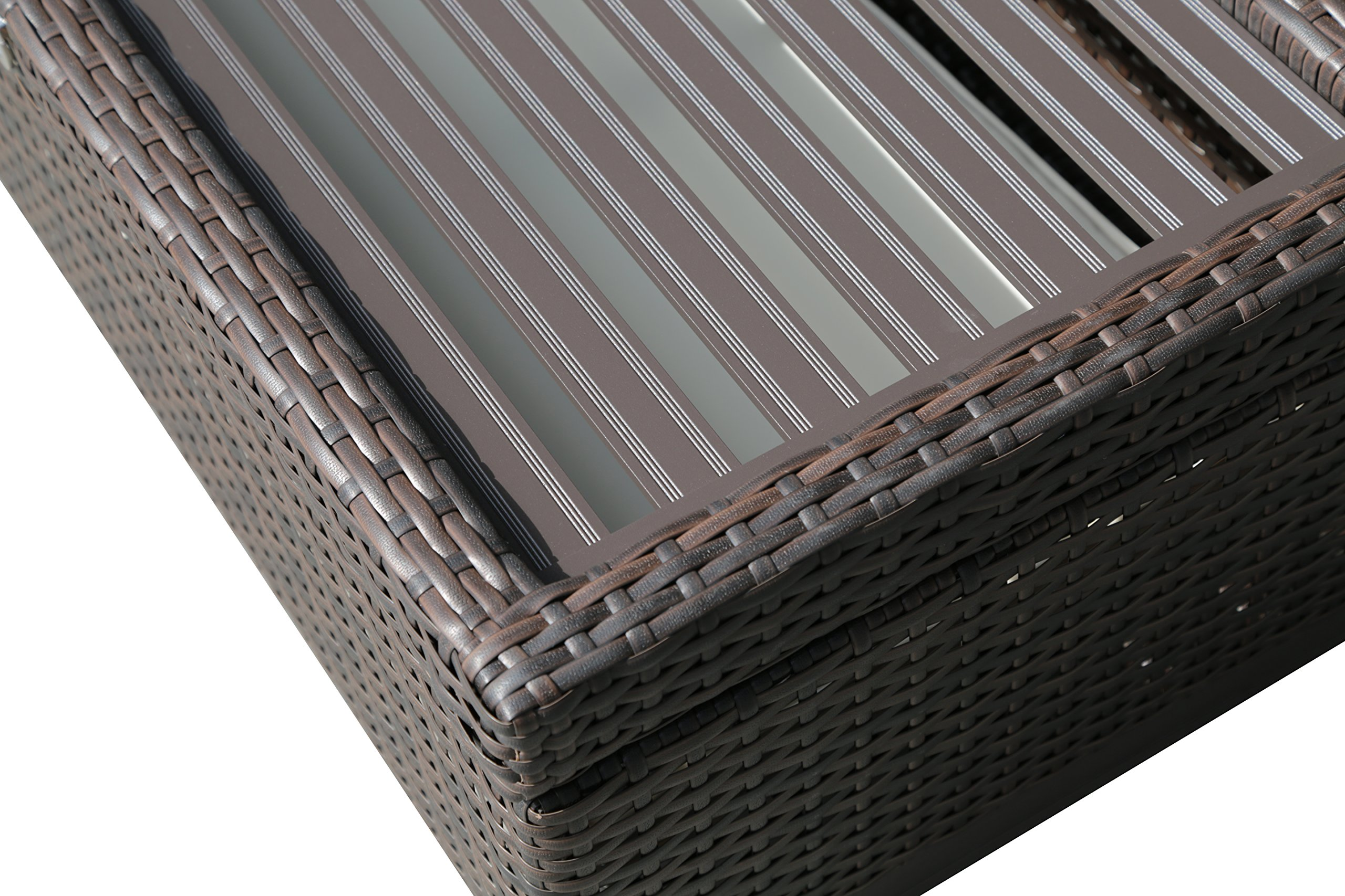 PATIOROMA Outdoor Patio Aluminum Frame Wicker Cushion Storage Ottoman Bench with Seat Cushion, Espresso Brown by PATIOROMA (Image #5)
