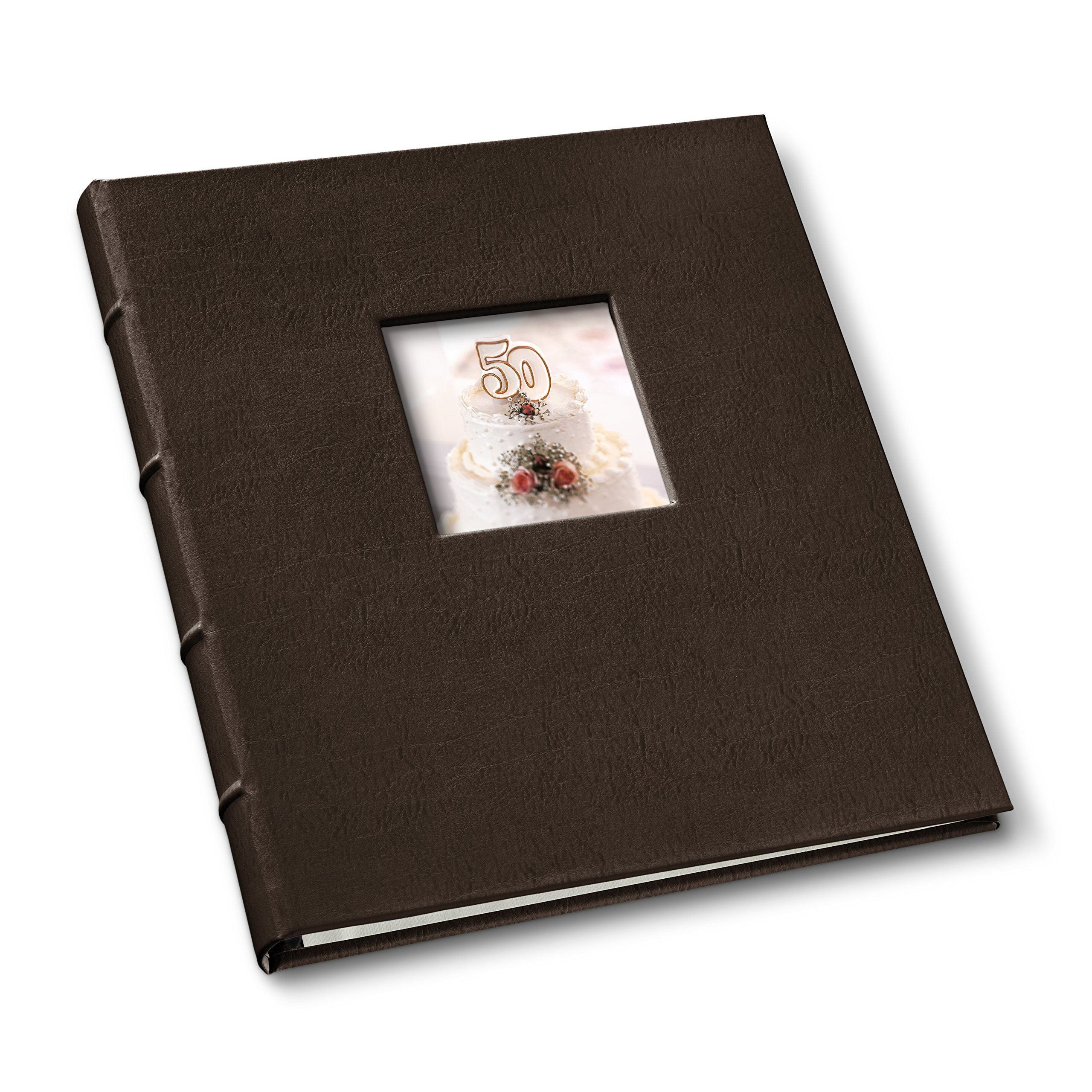 Gallery Leather Presentation Binder 3/4'' With Window and Hubbed Spine Freeport Mocha by Gallery Leather