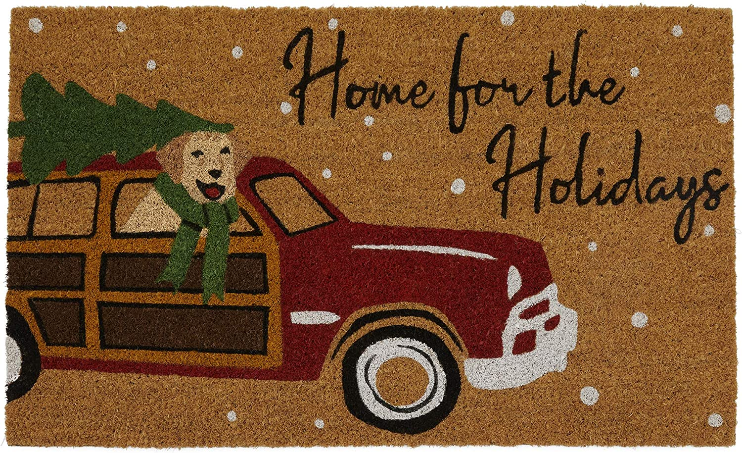 Elrene Home Fashions Home for The Holidays Vintage Christmas Red Truck Coir Doormat for Entryway/Front Door/Porch, 18