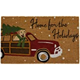 """Elrene Home Fashions Home for The Holidays Vintage Christmas Red Truck Coir Doormat for Entryway/Front Door/Porch, 18""""x30"""" Ma"""