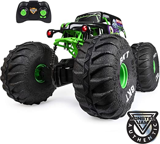 Amazon Com Monster Jam Official Mega Grave Digger All Terrain Remote Control Monster Truck With Lights 1 6 Scale Toys Games