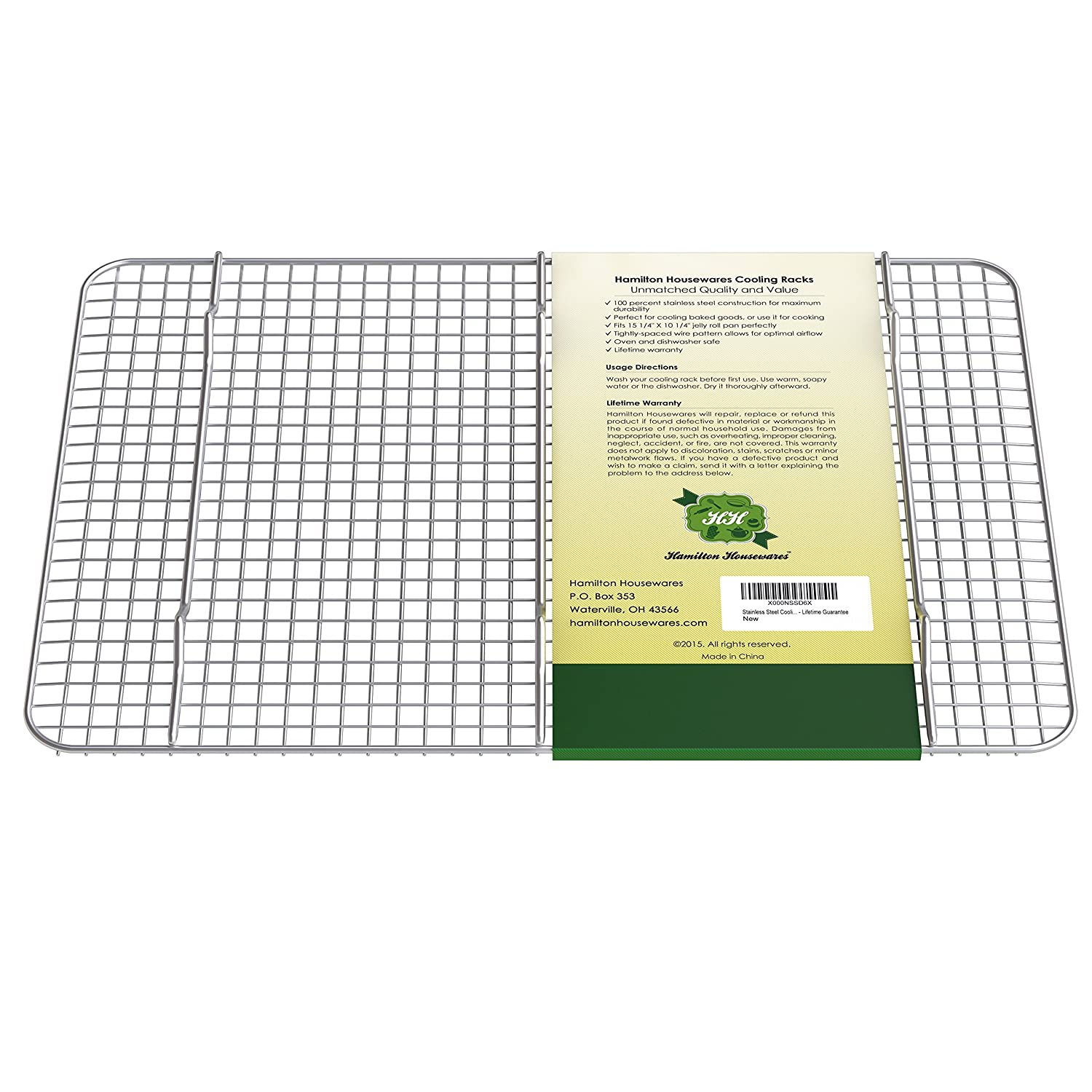 Hamilton Housewares Stainless Steel Cooling Rack - 10 Inches X 15 Inches  Heavy Duty, Commercial, Metal Wire Grid Rack