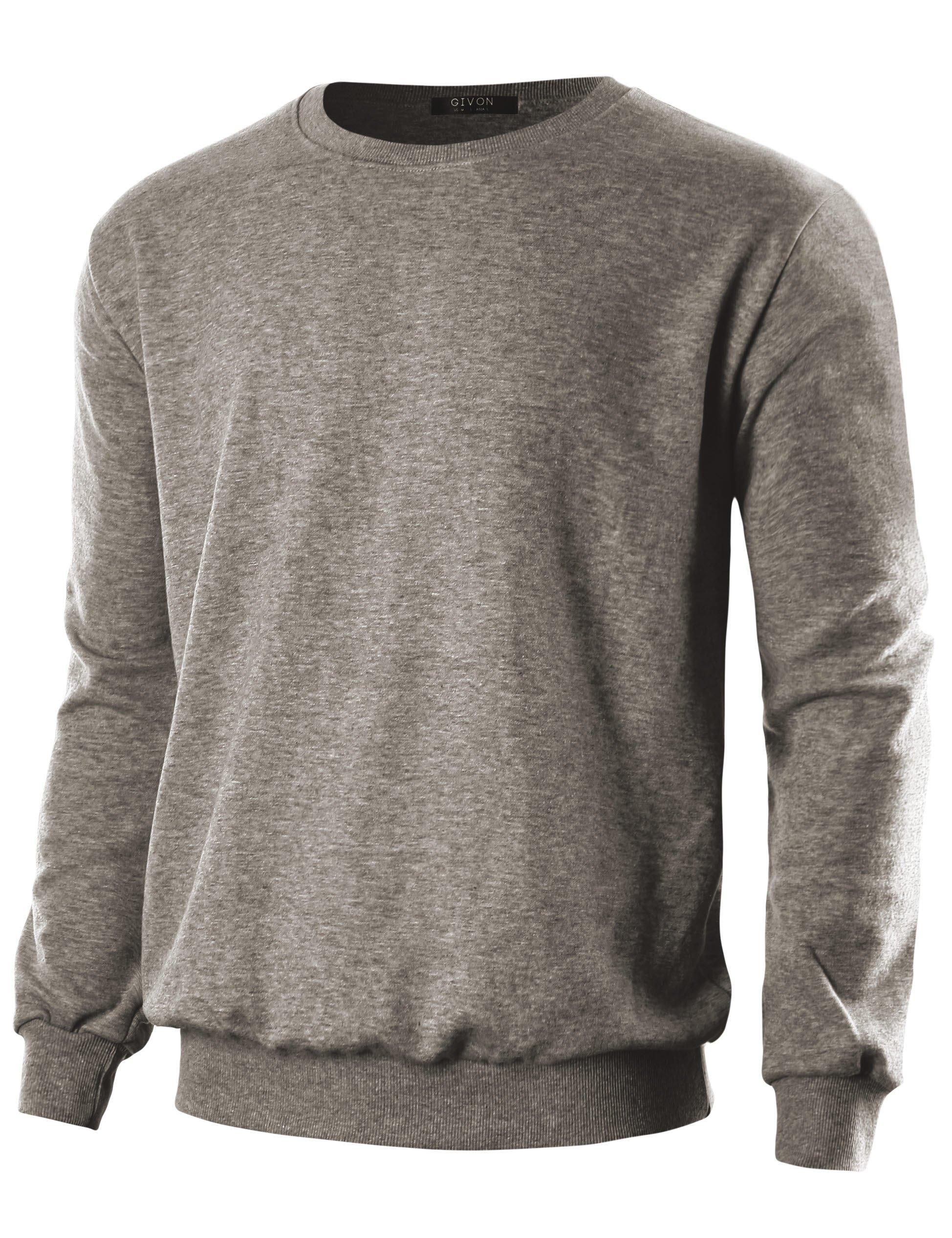 GIVON Mens Slim Fit Lightweight Crew Neck Sweatshirt/DCS005-BROWN-L
