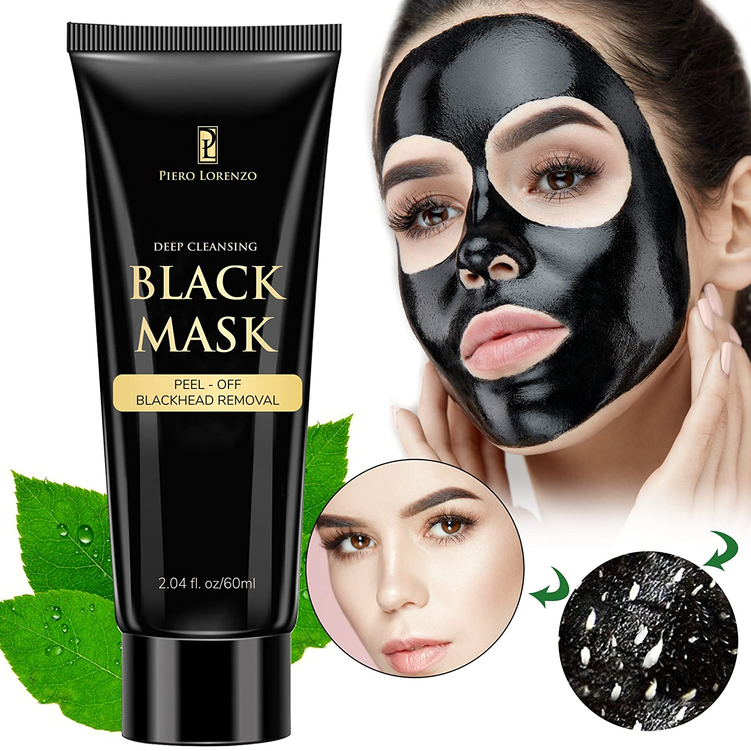 Blackhead Remover Black Mask Cleaner - Purifying Quality Black Peel off Charcoal Mask Best Facial Mask (1 Pack) Piero Lorenzo