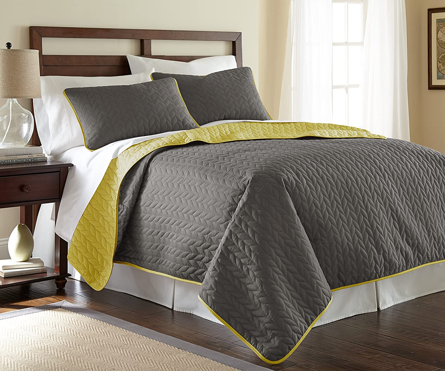 Amrapur Overseas Leaf Solid Reversible Quilted 3-piece Coverlet Set, King, Steel Grey/Bamboo
