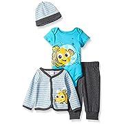 Disney Baby Boys' 4-Piece Finding Nemo Cardigan Set with Bodysuit, Grey, 6/9 Months