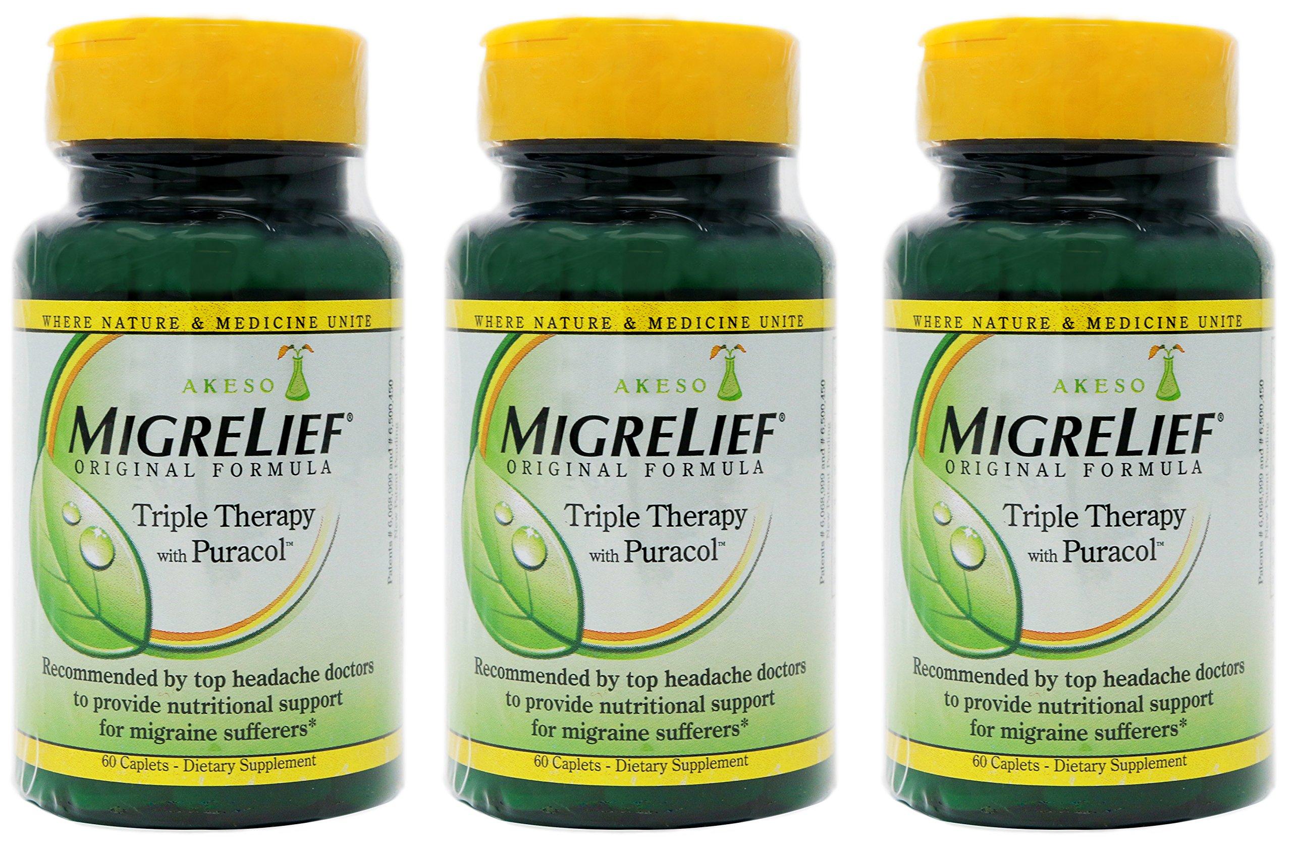 MigreLief Original Formula Triple Therapy with Puracol, 60 Count (Pack of 3) by MigreLief Original Formula