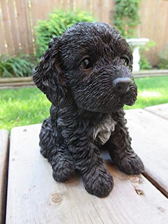 Black Cockapoo Puppy Dog Figurine Sitting
