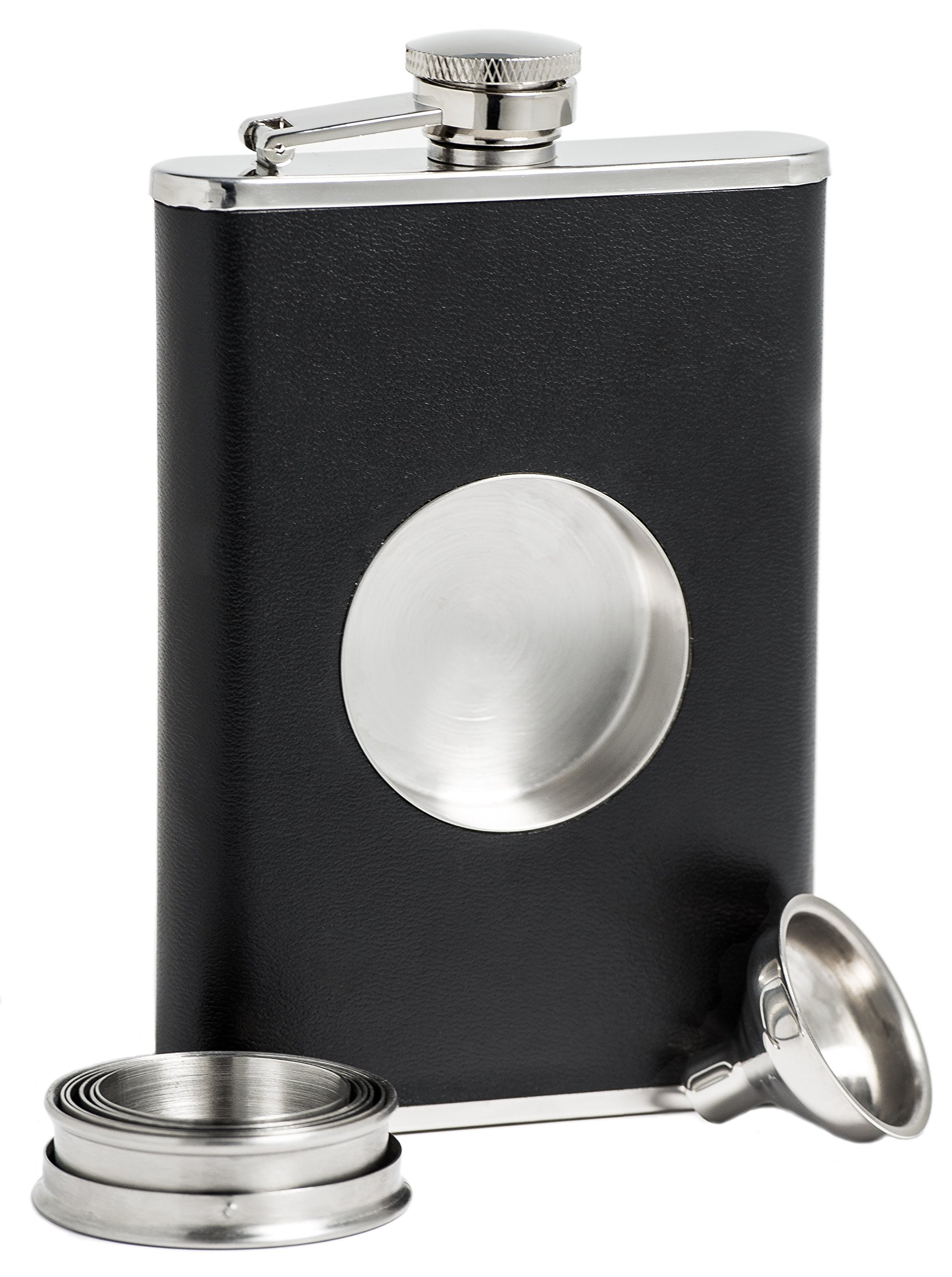 Shot Flask - Stainless Steel 8 oz Hip Flask, Built-in Collapsible 2 Oz. Shot Glass & Flask Funnel - Everything You Need to Pour Shots on the Go - BarMe Brand by BarMe (Image #2)