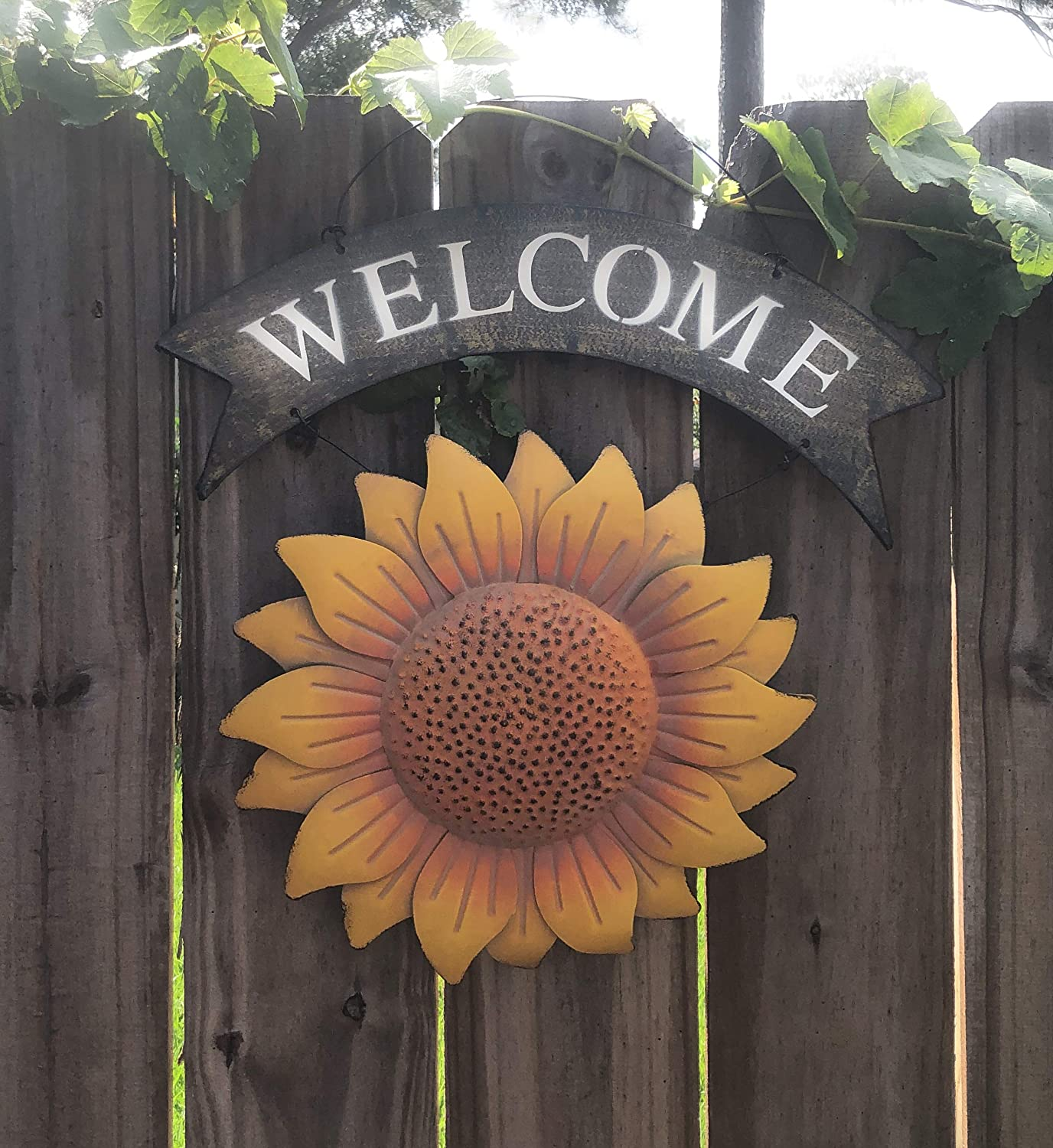 BG Garden Scapes Welcome Sunflower Sign Metal Star 10D Rustic Sign