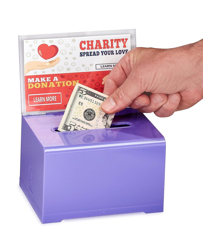Green AdirOffice Acrylic Donation /& Ballot Box With Lock 6.25 x 4.5 x 4