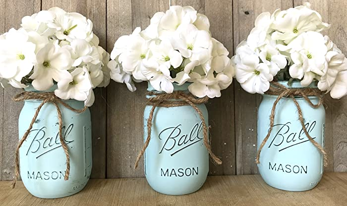 Amazon Com Painted Mason Jars Blue Mason Jars Mason Jar