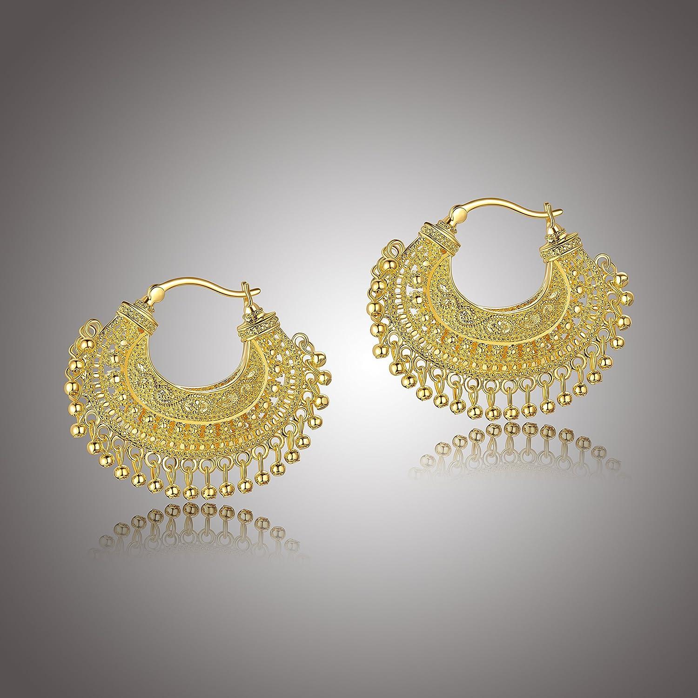 18k Yellow Gold Plated Bronze Indian Ethnic Chandbali Hoop Earrings 52AJ4G9573