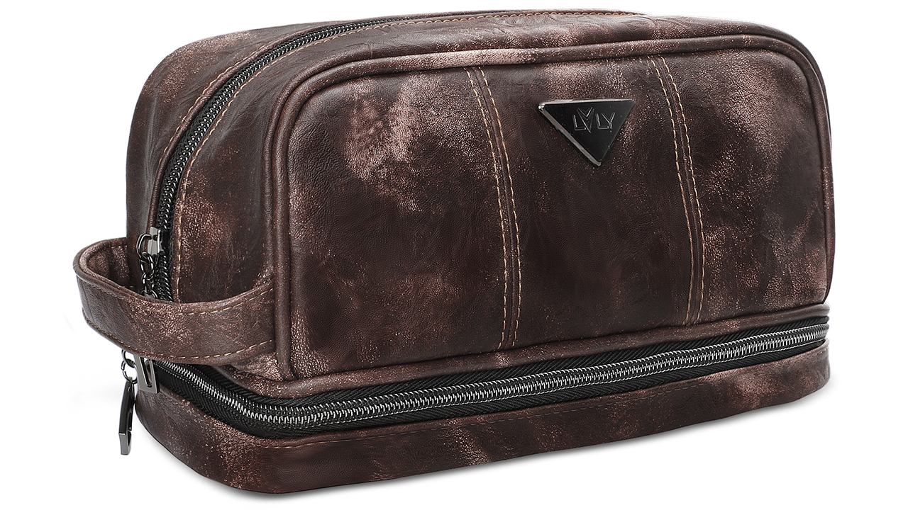 LVLY Dopp Kit Leather Toiletry Bag for Men - Travel Bags for Shaving Grooming and Bathroom Toiletries