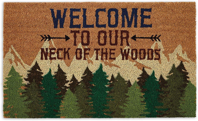 DII Home Natural Coir Doormat, Indoor/Outdoor, 18x30, Welcome Woods