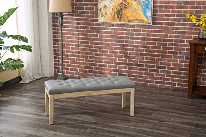 Merveilleux Roundhill Furniture CB171GY Mod Urban Style Solid Wood Button Tufted Fabric  Dining Bench, Grey