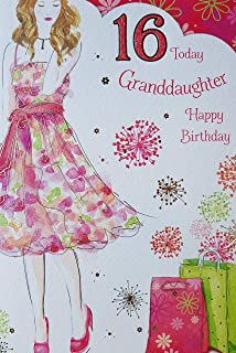 Granddaughter 16 16th Happy Birthday Dress Bags Design Good Quality Card With A Lovely Verse