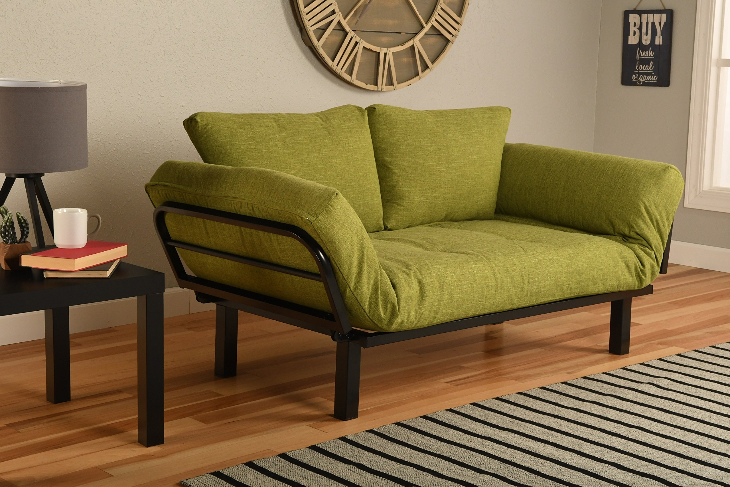 Best Futon Lounger Sit Lounge Sleep Smaller Size Furniture is Perfect for College Dorm Bedroom Studio Apartment Guest Room Covered Patio Porch (LIME GREEN LINEN)