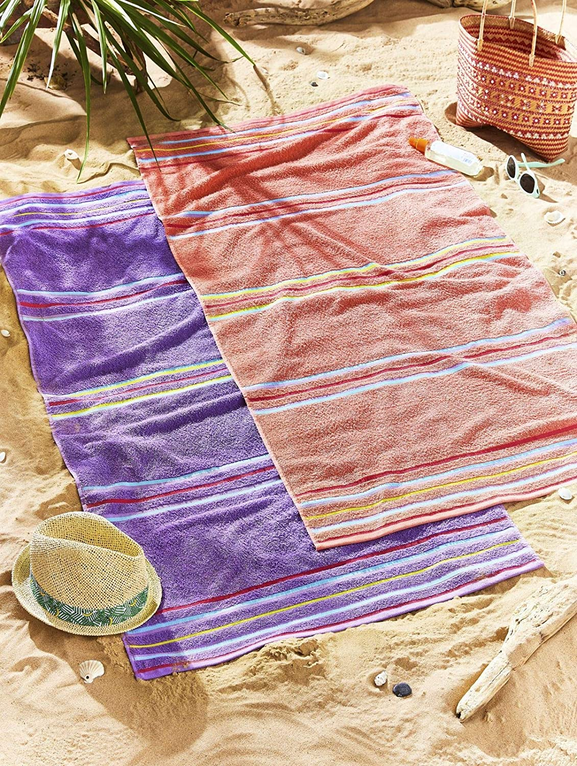 Catherine Lansfield Rainbow Pair Beach Towels Coral Turner Bianca TW/41289/W/BCH2/COR