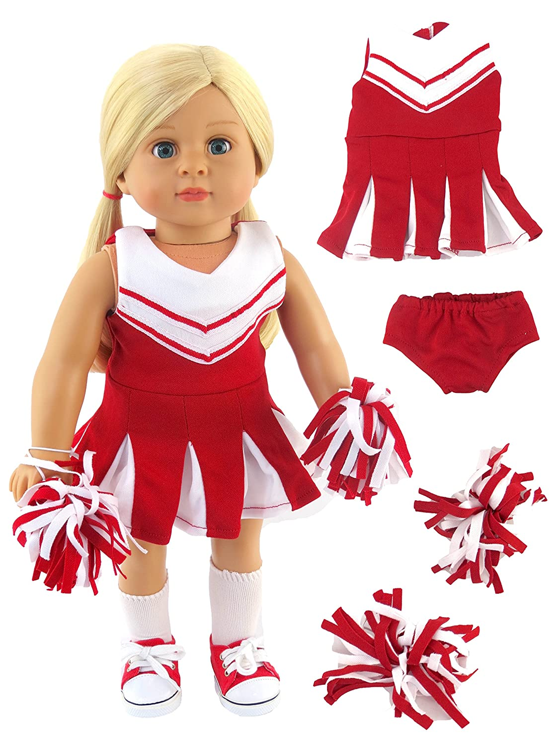 Red and White Doll Cheerleader Outfit | Fits 18 American Girl Dolls Made such as American Girl, Madame Alexander, Our Generation, etc | 18 Inch Doll Clothes | American Fashion World