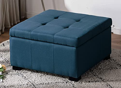 Legend Furniture Square Ottoman Bench With Large Storage Space and Safety Hinge for living room bedroom Sectional, green