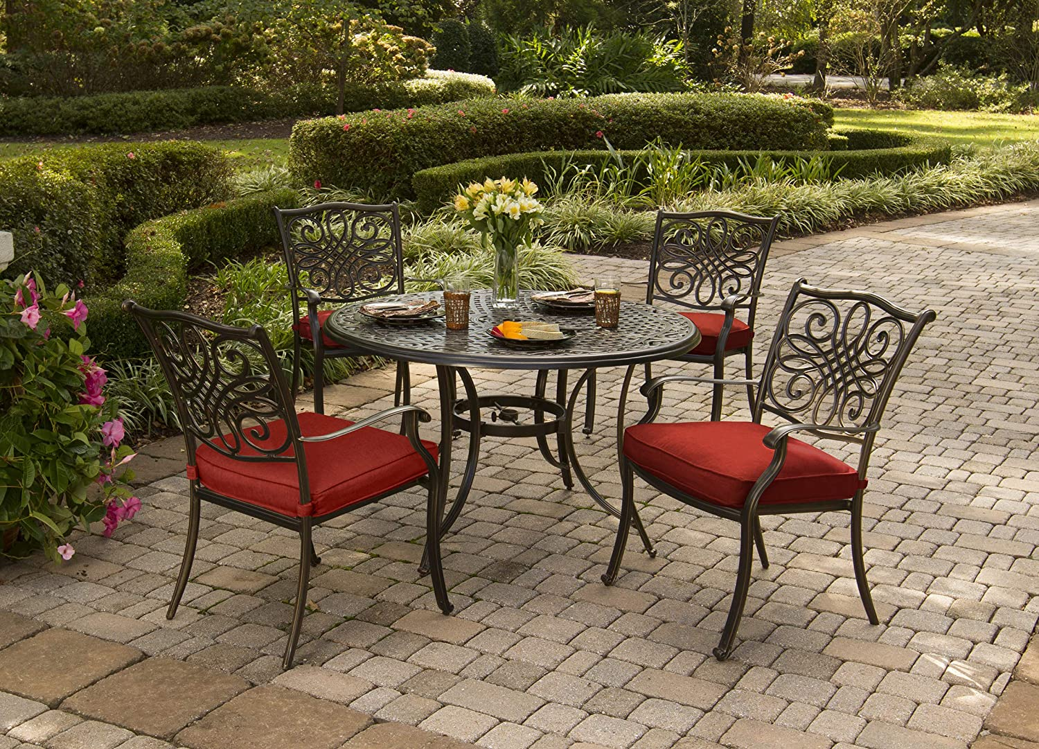 Hanover TRADDN5PC-RED Traditions 5-Piece Set in Red Cast-top Table and Four Dining Chairs Outdoor Furniture, 48 ,