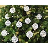 Festive Season 24pk 60mm Transparent Swirl Christmas Tree Ball Ornaments, White