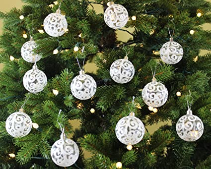 sleetly white swirl christmas ornaments
